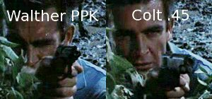 Bond's gun changes from a Walther PPK to a Colt .45