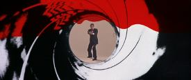 Roger Moore as James Bond in the Gun Barrel Sequence