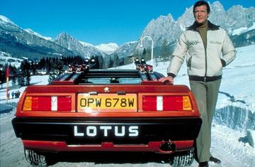 Roger Moore with his Lotus Espirit